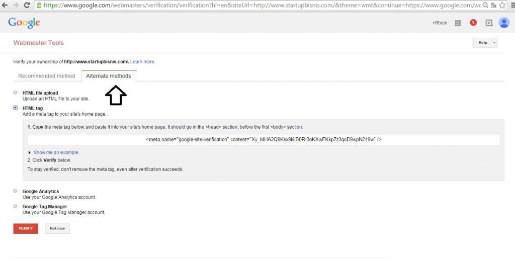Cara memasang google webmaster tool