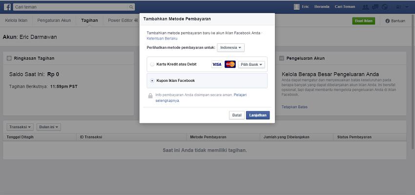 pembayaran iklan facebook ads