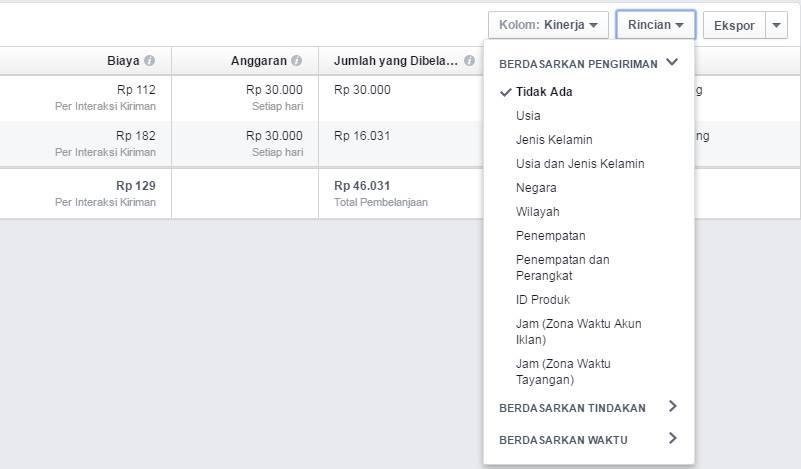 Report FB Ads Berdasarkan Pengiriman