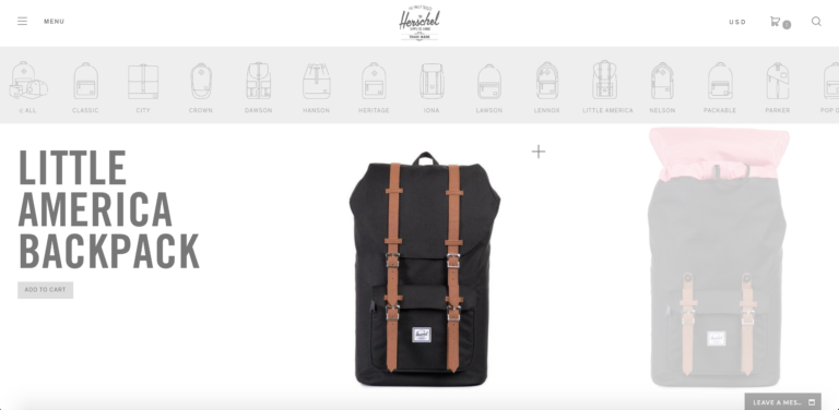 Website simple Herschel Supply