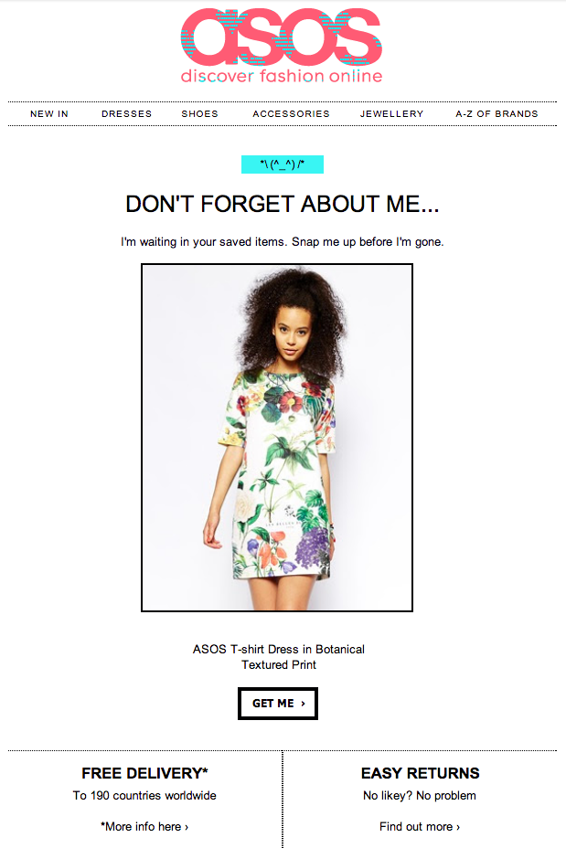 email abandonment ASOS