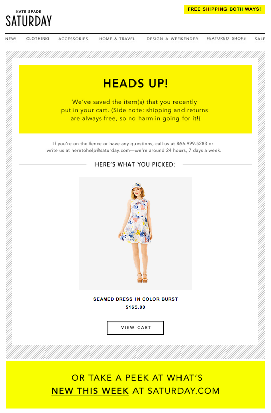 email abandonment Kate Spade Saturaday