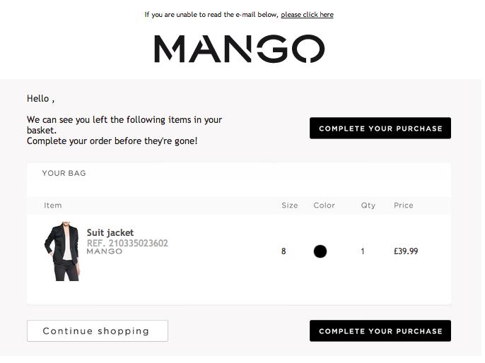 email abandonment Mango