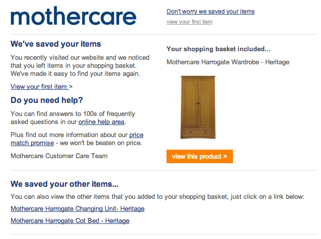 email abandonment Mothercare