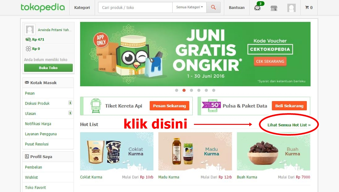 tokopedia - hot list menu