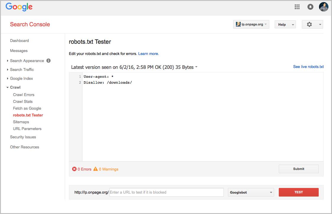 robots.txt tester