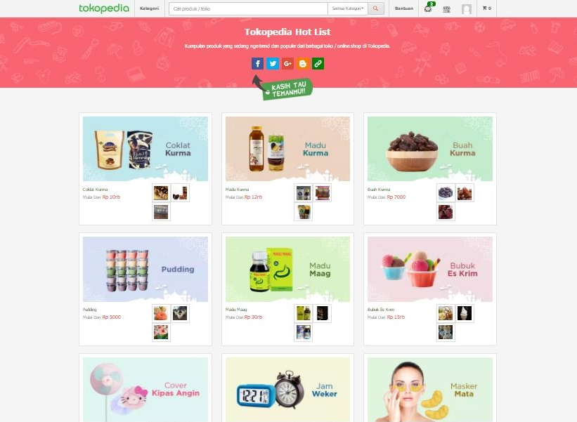 tokopedia - produk hot list