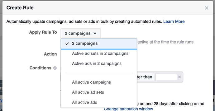 facebook automated rules - select campaign for rules