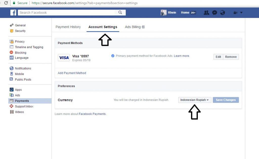 setting currency di pembayaran Facebook Ads