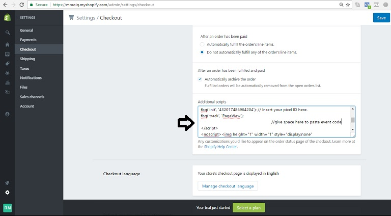 Shopify checkout pengaturan untuk acara kode