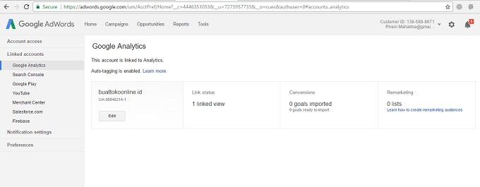 connect google analytics ke adwords