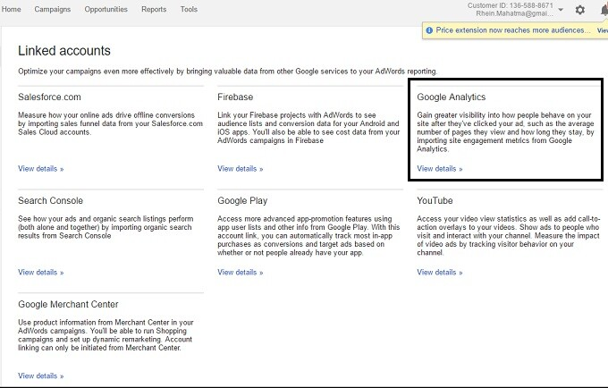 google analytics adwords
