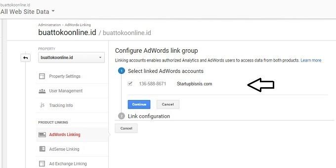 menghubungkan adwords dengan google analytics 2