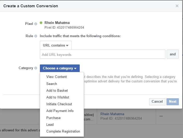 belajar facebook ads custom conversion