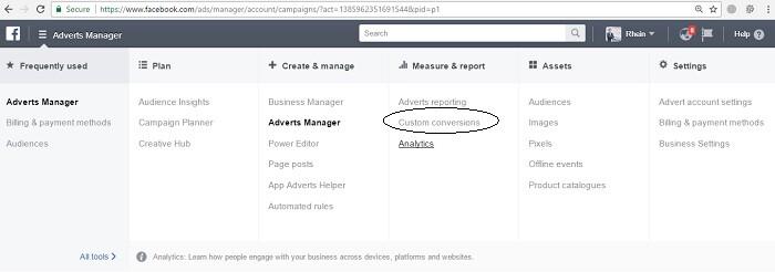 cara menggunakan custom conversion facebook ads