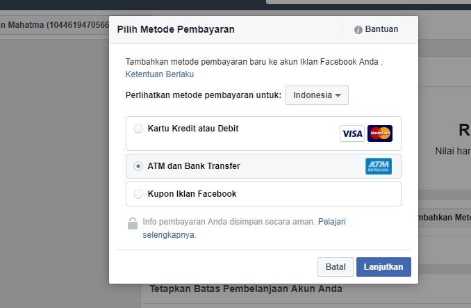 ATM dan bank transfer FB Ads