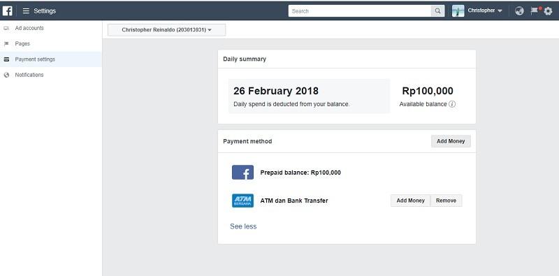 pembayaran facebook ads transfer ATM bersama 2018 - 3